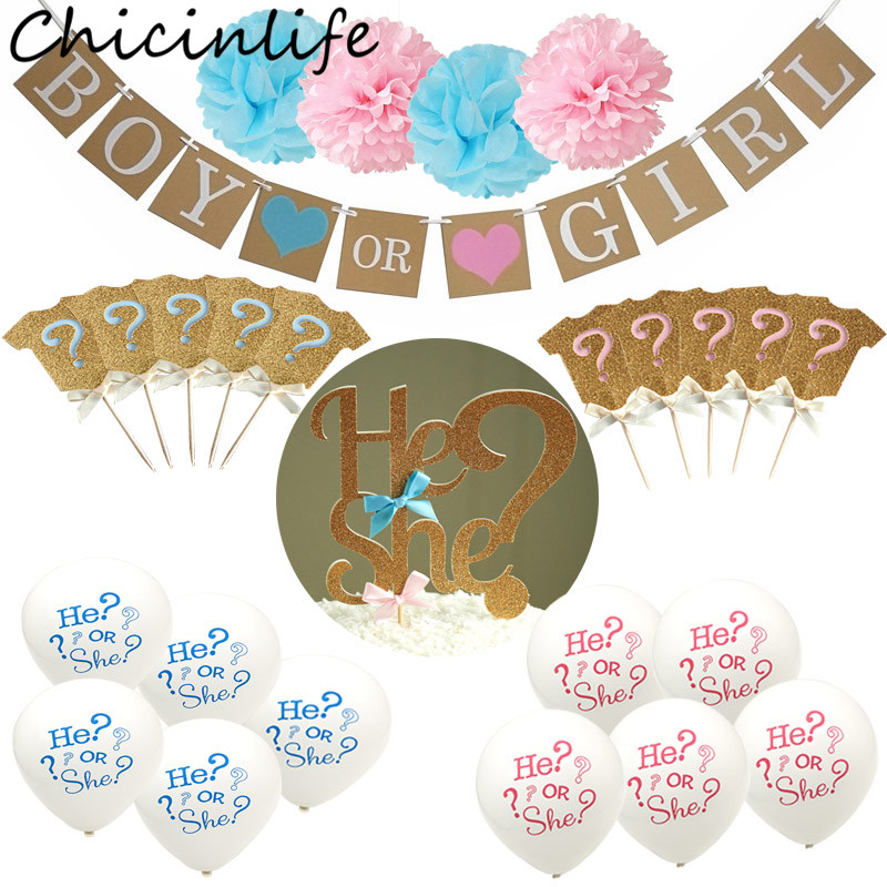 Chicinlife 1Set Boy Or Girl Banner Bunting Baby Shower Hanging Gender Reveal Party Pregnancy Announcement Decoration Supplies ...