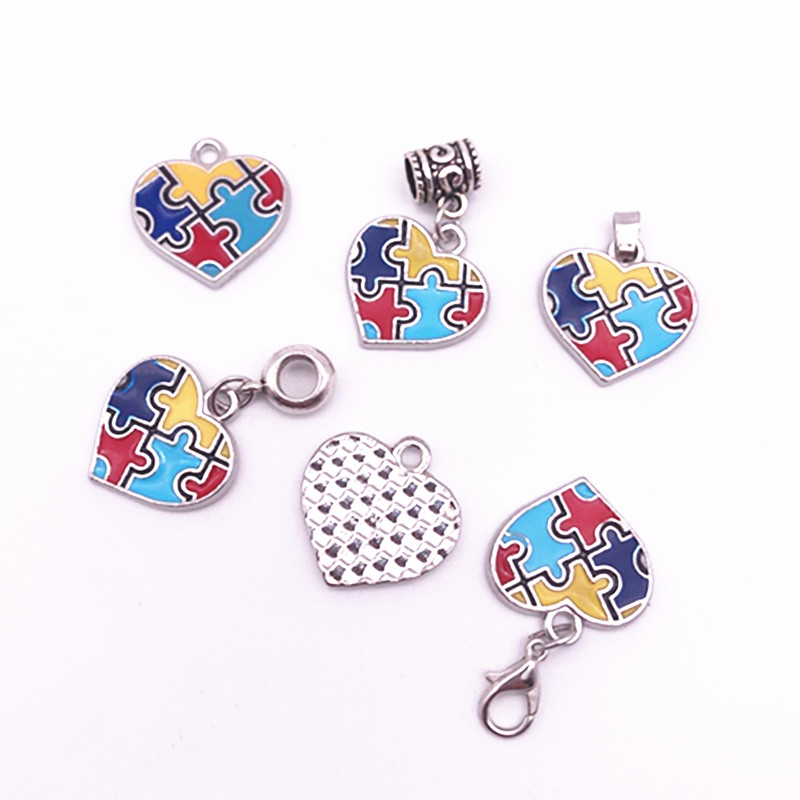 Heart Ribbon Enamel Autism Awareness Jigsaw Puzzle Piece Dangle Charms Pendant For DIY Beacelet Necklace Jewelry 20pcs/lot(China)