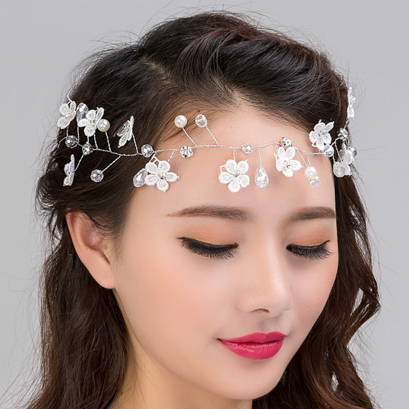 Women jewelry Hair Clip Head Band Alloy Flower Accessories Lace Faux Pearl
