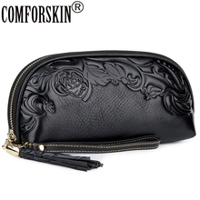 COMFORSKIN New Arrivals Brand Embossing Flower Ladies Clutch Bag Luxurious Genuine Leather Large Capacity Women Day Clutches