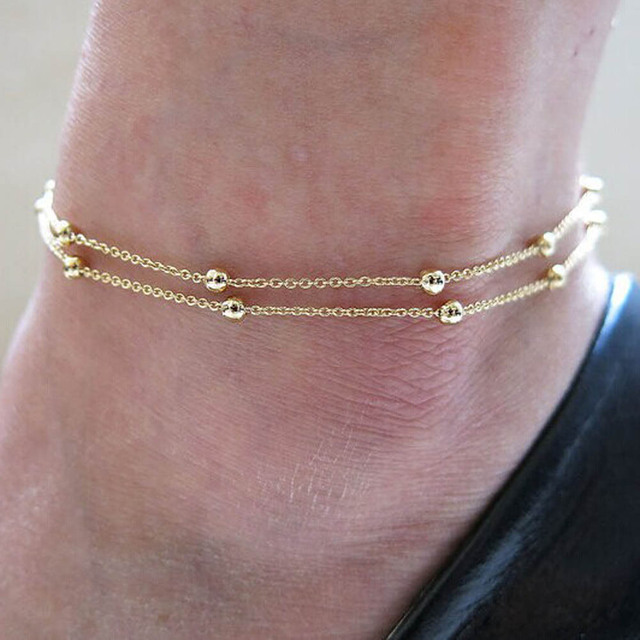 European And American Trade Jewelry Chain Beads Anklets Double AliExpress Ebay Explosion Models Lady Ankle Bracelets