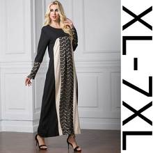 New Middle East Muslim Robe Mahjong Lace Stitching Long Sleeve Dress Large Size  6XL Summer Dress 2017 Plus Size Casual Loose
