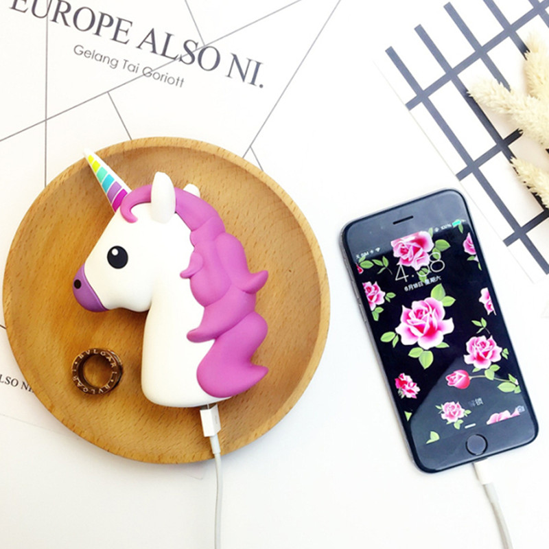 GOESTIME Portable Emoji Powerbank Battery 2600MAH Unicorn Cartoon Design USB Output Charge Mobile Power For IOS Android Phones