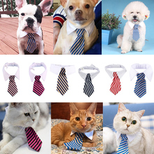 Fashion Puppy Dog Cat Striped  Adjustable Neck Tie Pet Ornament Pet Clothing Pet Decoration Neck Tie For Party Wedding D40