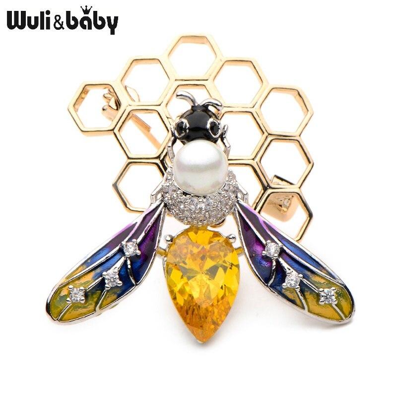 Wuli & baby Kupfer Kristall Bee Emaille Broschen Frauen männer Elegante Simulierte Perle Insekten Bankett Hochzeiten Party Brosche Geschenke
