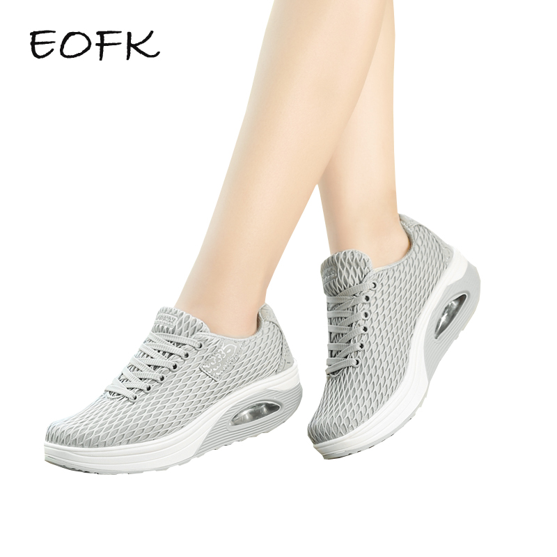 EOFK Women Flat Platform Shoes Woman Casual Fabric Breathable Shoes Lace Up Womens Shoes Light Weight Female Shoes zapatos mujer