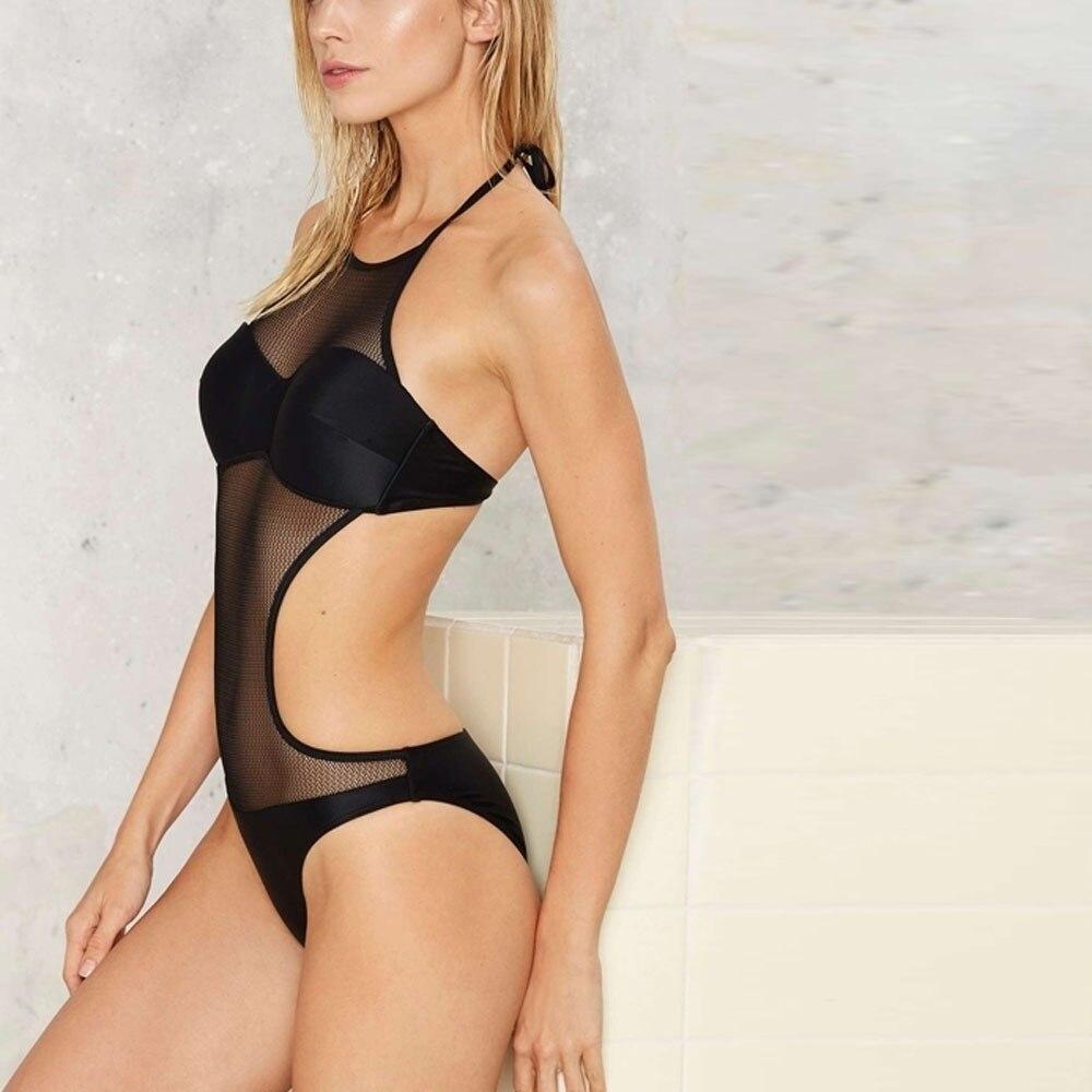Missomo 2018 New Fashion Black Mesh Contrast Playsuits Women Sleeveless Backless Cut Out Slim Female Sexy Belt Bodysuits