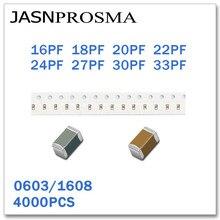 JASNPROSMA 4000PCS 0603 1608 COG/NPO RoHS 50V 5% 16PF 18PF 20PF 22PF 24PF 27PF 30PF 33PF SMD Capacitor de Alta qualidade