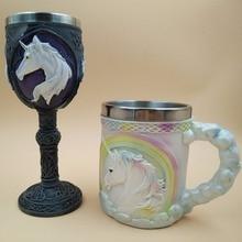 LIYIMENG 3D Coffee Milk Mug Whisky For Unicorn Double Wall Wine Goblet Novelty Cute Mug Ceramic Creative Coffee Tea Gift