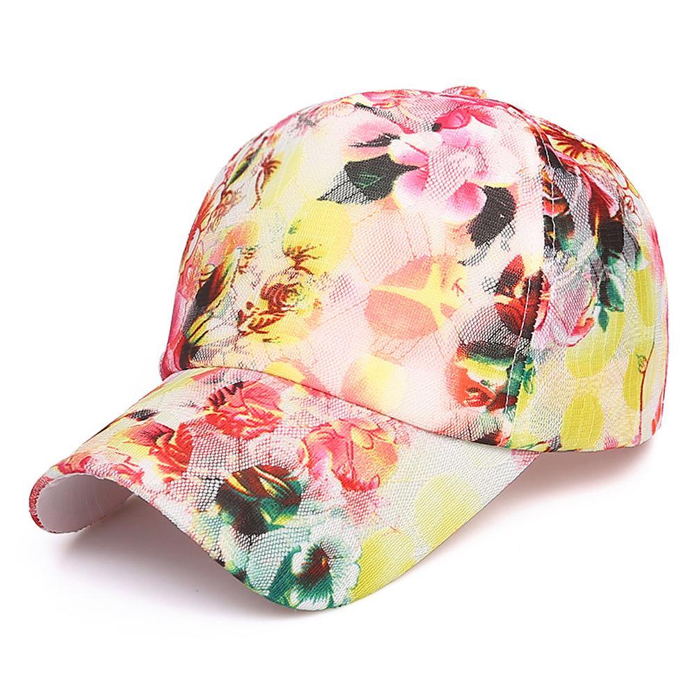 Just Summer Sun Caps Mesh Breathable All-match Women Unisex Peaked Cap Adjustable Print Floral Sunscreen Summer Hats Yi0 Fine Workmanship