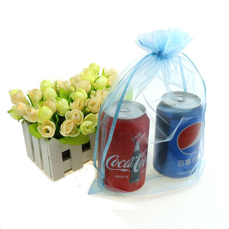 20x30cm Blue Organza Jewelry Bags Gift Bags Christmas Gift Promotion Weeding Customized Logo Printing Bags 500pcs/lot Wholesale
