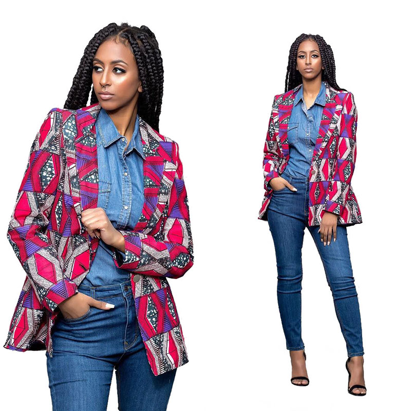4 Colors Women Fashion African Wax Clothing Dashiki Print Open Front Hippie Jacket Coat One Button Blazer Suit For Ladies Spring
