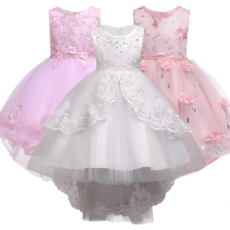 Children embroidered trailing show show party   dress   fashion   girl   lace   flower   boy Peng Peng trailing drilled wedding   dress  .