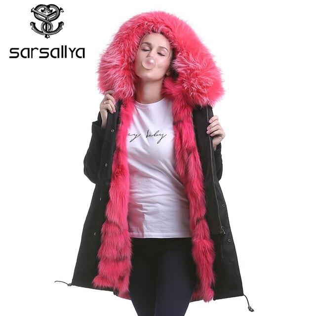 77b81b063a SARSALLYA women's raccoon fur hooded coat parkas outwear long detachable  lining winter jacket brand style real fox fur coat
