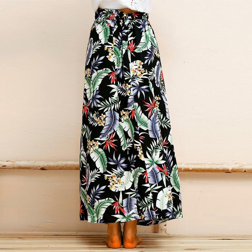 Women Boho Maxi Skirt soft and comfortable Beach Leaf Print Holiday Summer High Waist Long Skirt L50/0124
