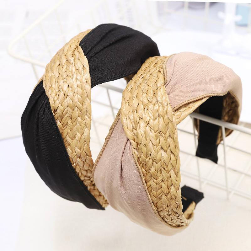 Ruoshui Woman Summer Straw Hariband Knotted Cross Bohemian Hairband Knot Handmade Bandeau Women Hair Accessories Hoop   Headwear