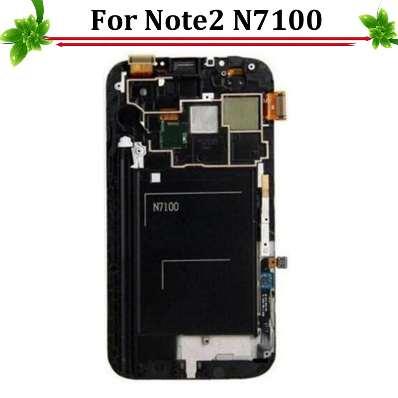 100% Test OK For Samsung Galaxy Note 2 N7100 LCD Display Touch Screen Digitizer with Frame Assembly original 100% test lcd display touch screen digitizer assembly for samsung galaxy note edge n915 white with tempered glass tools