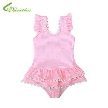 2019 Baby Girl Swimsuit Cute Stripe Bathing Kids Swimwear Bowknot One Piece Bikini Children Beach Wear
