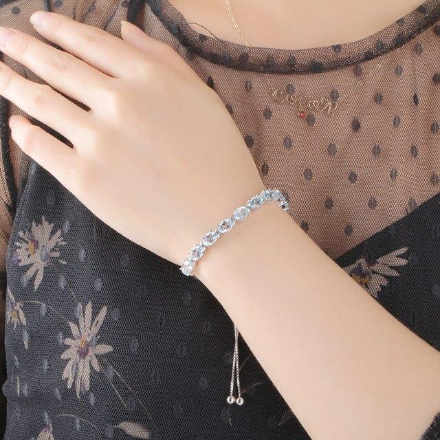 Bracelet Bleu Pierres Topaze Porte-Bonheur