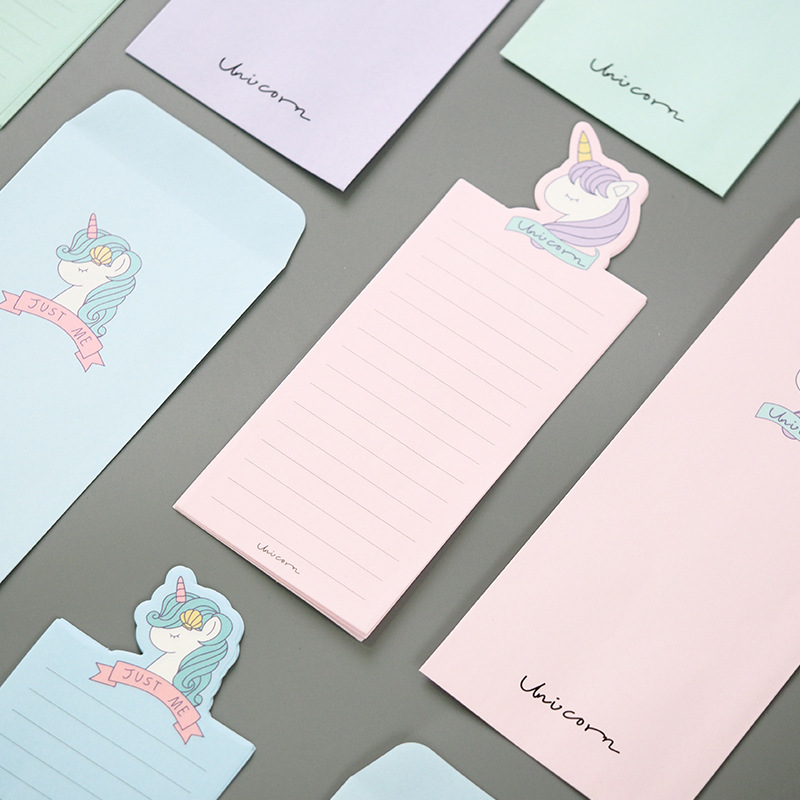 Unicorn Young Girl Envelope Letter Paper Message Card Letter Stationary Storage Paper Gift