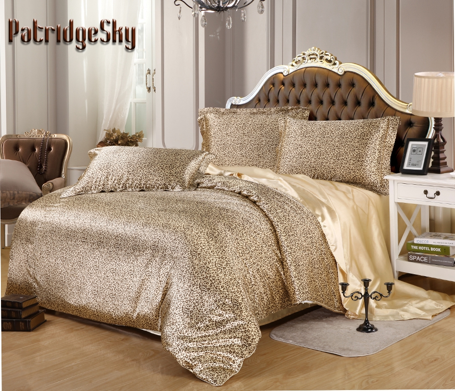 2017 New 3 4pc Faux Silk Leopard Printed Luxury Bedding