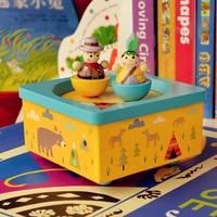 Mamadada Copo De Madeira A Caixa De Música Meninas Indianas Cowboys Crianças Padrão Animal Wind Up Brinquedos De Madeira Educacional