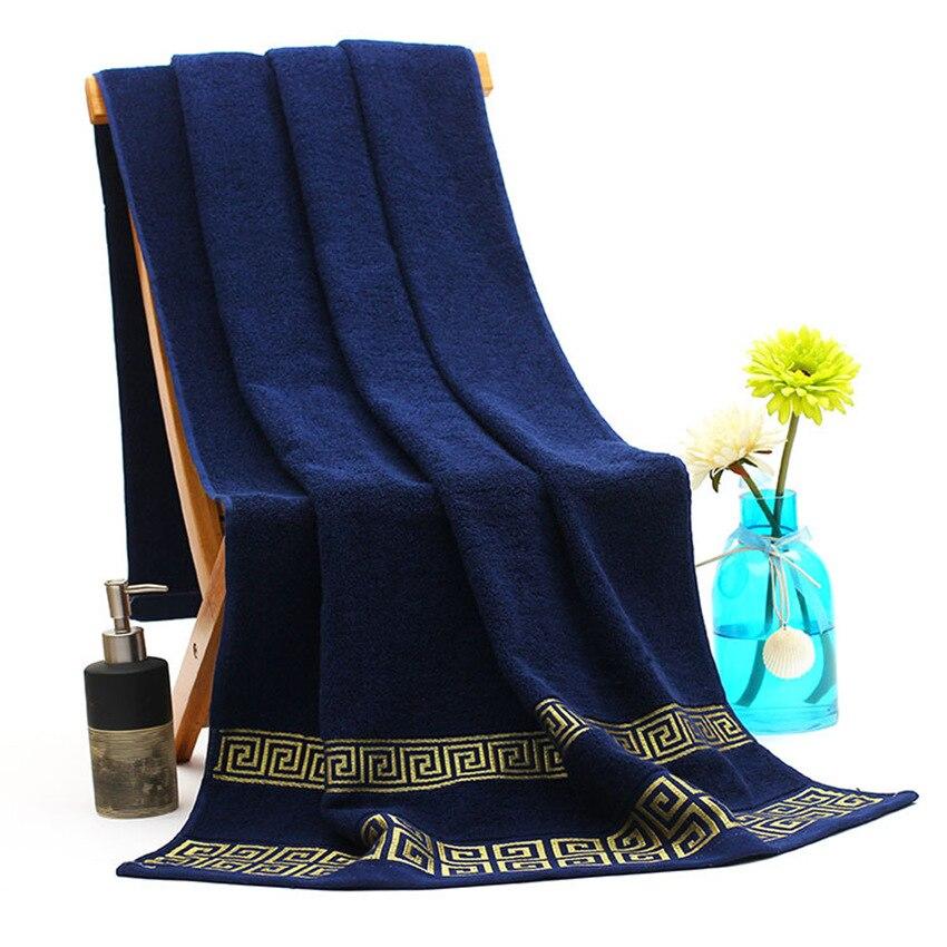 Envío Gratis toallas de baño de lujo bordadas para adultos 70x140 cm Toallas de playa 100% algodón blanco azul marrón gimnasio Spa toallas grandes