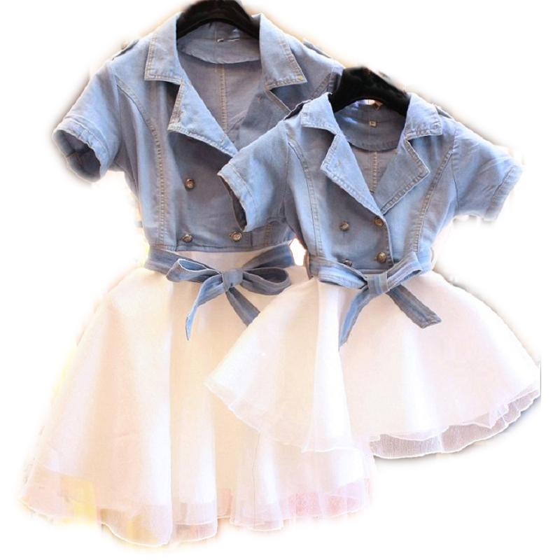 Mother Daughter Dresses Summer Short Sleeved Family Matching Clothes Mom Daughter Dress 2018 Family denim Clothing 3-7T Kids 2017 summer children clothing mother and daughter clothes xl xxl lady women infant kids mom girls family matching casual pajamas