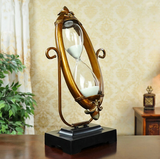 30CM Retro Europe Type Metal Swivel 30Min Sand Glass Sand Timer Clock Hourglass Arts And Crafts Study Bedroom Office Desk Decor
