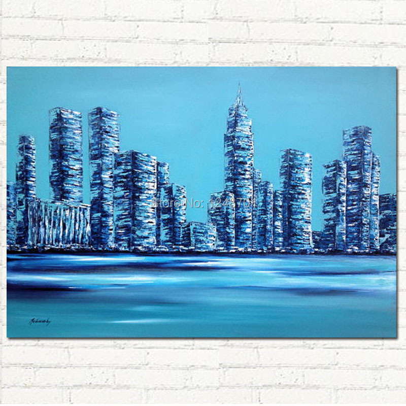 New York city Crystal city HUGE oil city scape painting on canvas, turquoise, blue, white HANDMADE ART