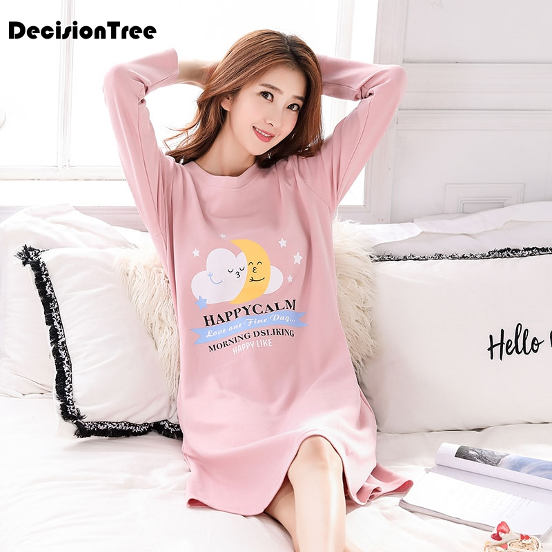 2019 new woman cotton   nightgowns   cute nightdress sleepwear long sleeve casual nightwear stripe   sleepshirts   shirts