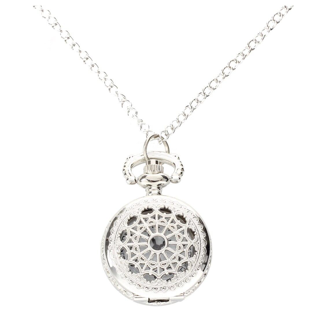Practical Men Women Pocket Watch Quartz Silver Alloy Pendant Necklace Pocket Deco
