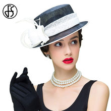 10dbd94ce65b6 FS Fascinator Womens Black White Sinamay Hat Church Wide Brim Ladies Linen  Fedora Royal Wedding Kentucky Derby Hats With Feather
