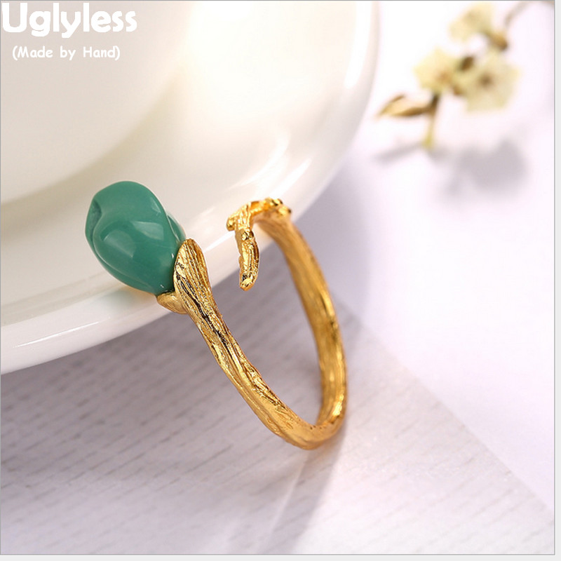 Uglyless Real 925 Sterling Silver Natural Turquoise Orchid Finger Rings Women Vintage Handmade Branch Opening Ring