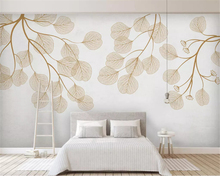 beibehang Custom fashion three-dimensional Nordic minimalist hand-painted flamingo leaves mosaic wall paper background wallpaper