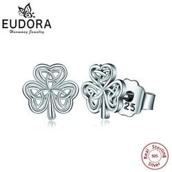 EUDORA 925 Sterling Silver Ireland Celtics Shamrock Stud Earring Rhodium Earring Women Angel Caller Fine Jewelry Fashion Dangler