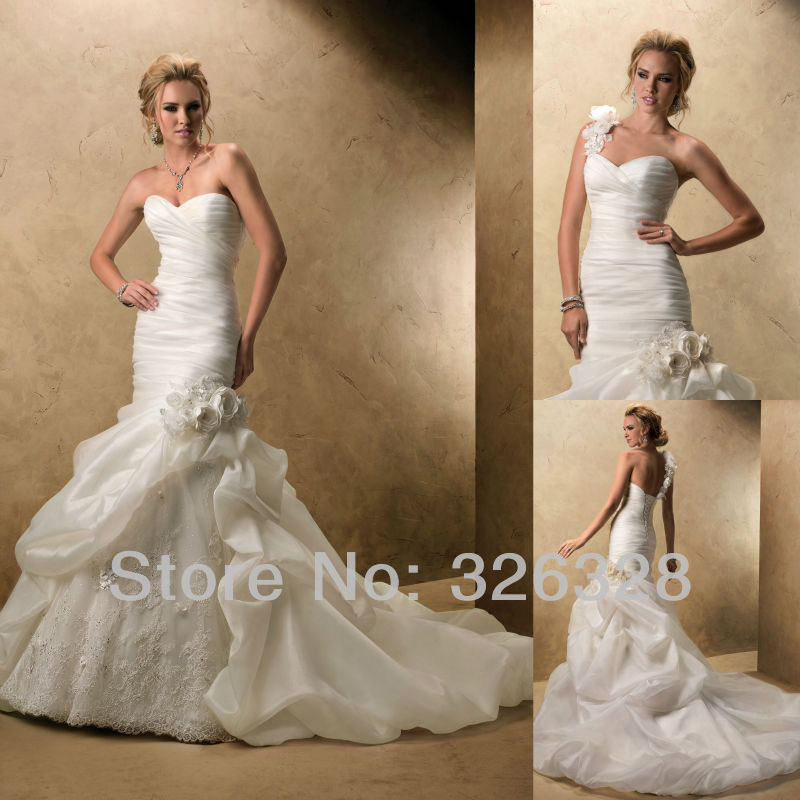 Mermaid Tail Trumpet Gown Handmade Flower Organza Long Train Lace Up ...