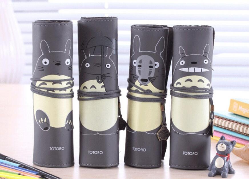 2020 1 Piece School Pu Leather Roll Pen Pencil Case Totoro Kawaii Cute Pencil Pouch Stationery Make Up Storage Organizer Supply