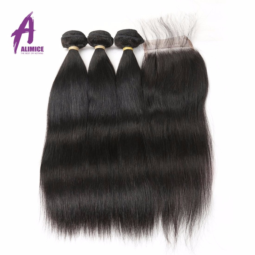 Alimice Brazilian Straight Hair Weft 3 Bundles with Closure Natural - Human Hair (For Black)