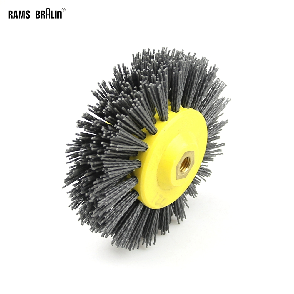 1 Piece 150*40mm * M14 Nylon Abrasive Wire Polishing Brush Wheel For Wood Furniture Stone Antiquing Grinding