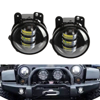 2pcs Pair 30W 4 Inch Round Fog Lights Lens Projector Fog Lamp For Offroad Jeep Wrangler