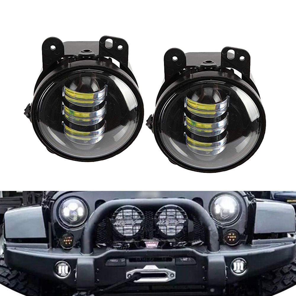 2pcs/Pair 30W 4 inch Round fog lights lens Projector Fog Lamp For Offroad Jeep Wrangler Dodge Chrysler ATV SUV 4X4 CREE CHIPS 2pcs led round 4 inch fog lights 30w 4 fog lamp lens projector led driving headlamp for offroad jeep wrangler dodge chrysler