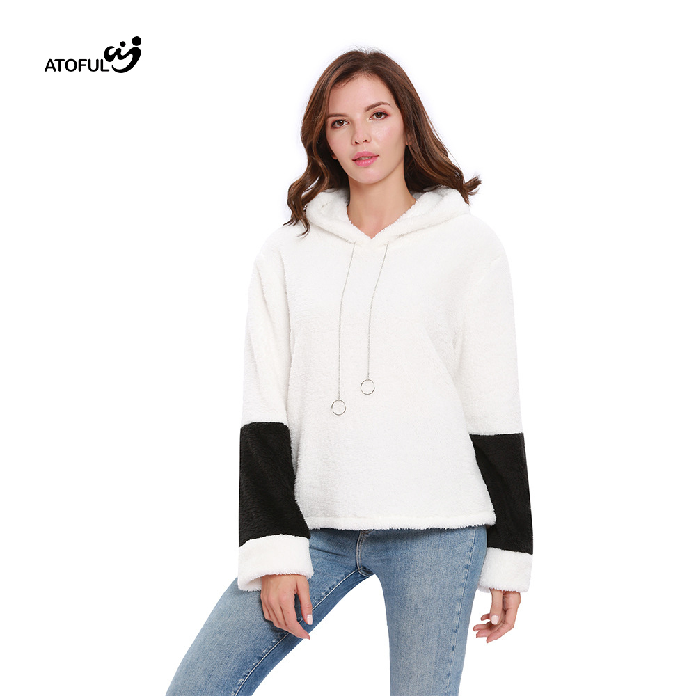 ATOFUL 2019 New Autumn Winter Women Fashion Womens Hoodie Clothes Double-faced velvet Casual Oversized Hoodie Warm Coats top