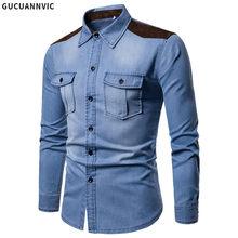 41e4138345e Британский стиль с длинными рукавами джинсовая рубашка Для мужчин замши  лоскутное тертые хлопковые джинсовая рубашка s