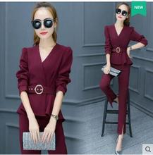 2016 High quality new women s fashion professional suit Plus size long sleeved long section two