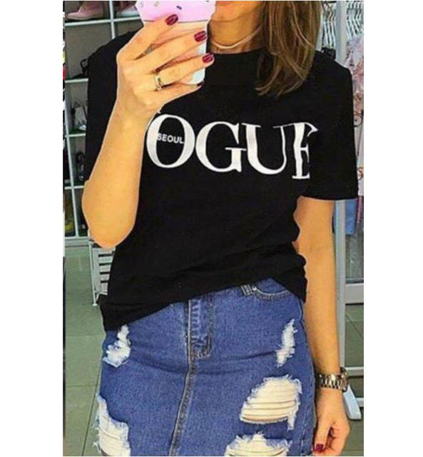 5a0d317588301 Moda de manga corta Camiseta mujeres Top verano casual Vogue Tops negro  blanco rojo
