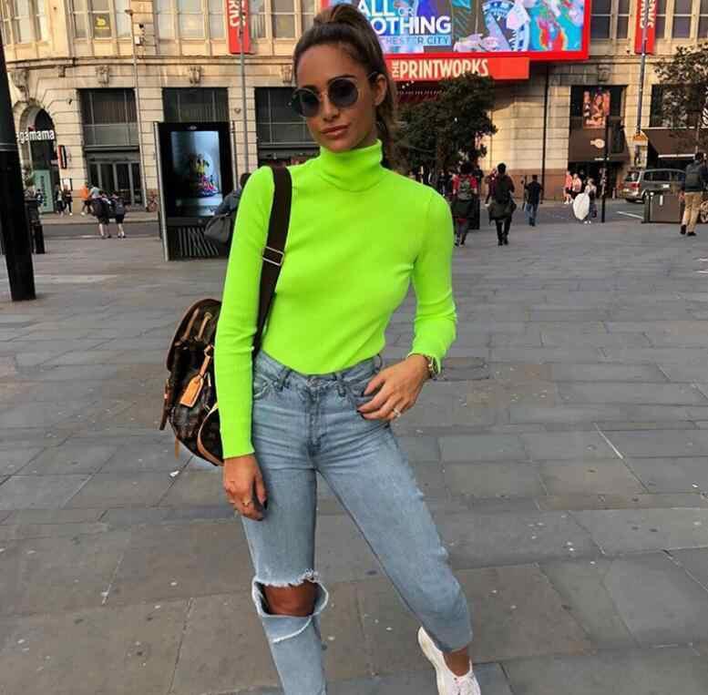 ร้อนแขนยาวคอบอดี้สูงสีเขียวขายเสื้อฤดูใบไม้ร่วงฤดูหนาวผู้หญิงแฟชั่น Streetwear เสื้อยืดลำลอง