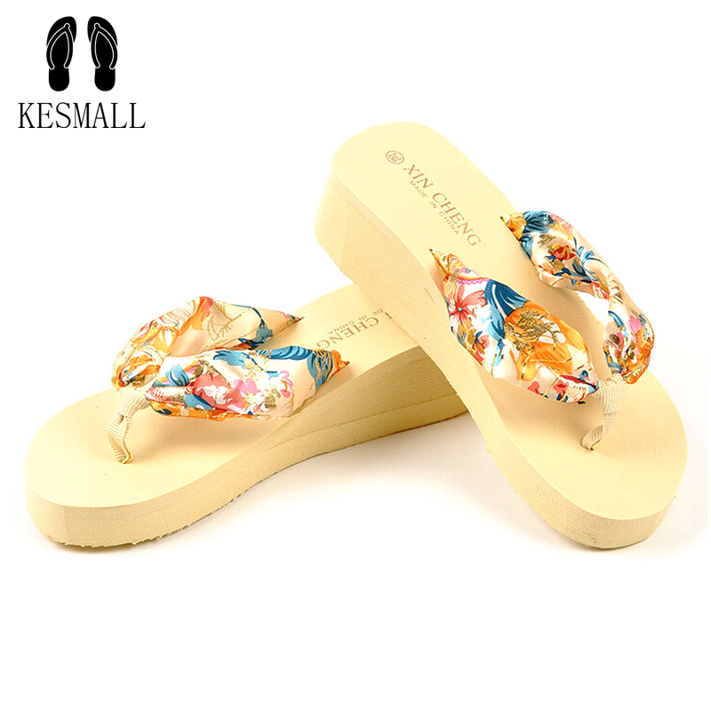 2017 Summer Shoes Women Stretch Fabric EVA Flip Flops Beach Sandals Casual Wedge Platform Slippers Sandales Talon Slippers WS14 casual wedges sandals 2017 summer beach women shoes platform flip flops print sandal comfort creepers shoes woman