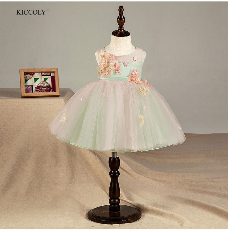 KICCOLY rose vert fête bébé fille Tutu robes été 2018 enfants vêtements pour filles broderie fleur fille anniversaire Costume 2-14 T