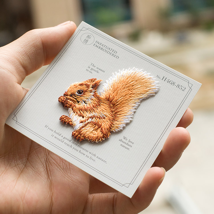 Cute Squirrel Sew On Embroidery Patch